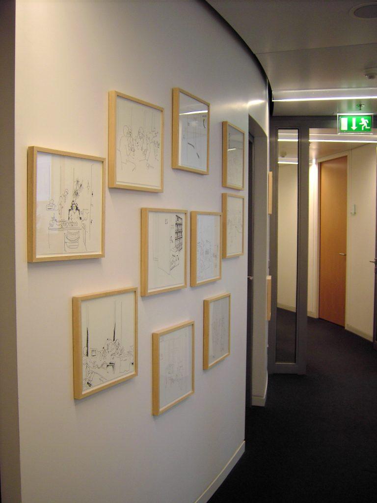 Hängung der Zeichnungen im Gebäude der Hessischen Landesbank, Frankfurt